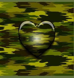 Military camouflage heart vector