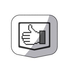 monochrome sticker silhouette of pixel hand vector image vector image