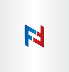 Red blue letter f symbol design vector