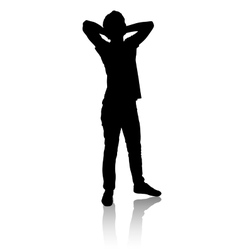 Silhouette of a man who stands and relaxes vector image