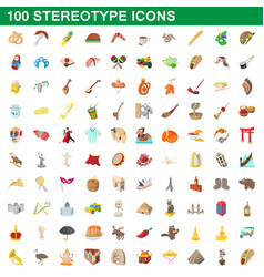 100 stereotype icons set cartoon style vector image vector image
