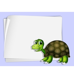 A turtle beside an empty paper vector image