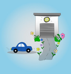 car and garage childish vector image vector image