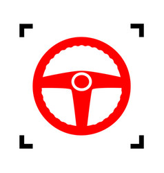 car driver sign red icon inside black vector image