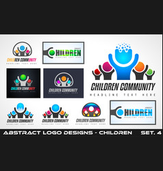 collection fo creative children community logo vector image vector image