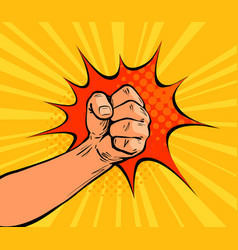 fist punching crushing blow or strong punch drawn vector image vector image