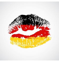 Flag lipstick on grunge lips vector image vector image