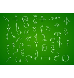 Hand drawn arrow collection on green background vector image vector image