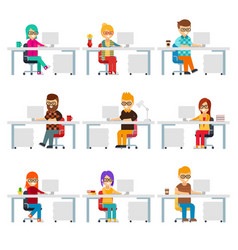 hardworking creative people work in the office vector image vector image