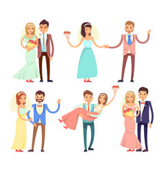 newlyweds dancing and have fun vector image