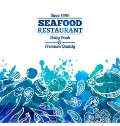 Seafood Background Menu vector image