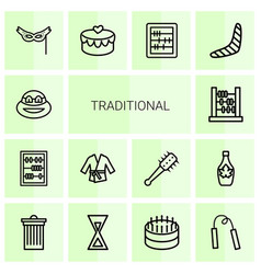 14 traditional icons vector