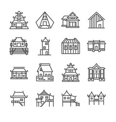 Asian property line icon set vector