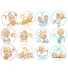 Baby zodiac Horoscope sighns as cartoon kids vector