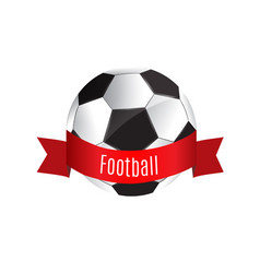ball and red ribbon soccer game vector image