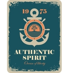 Banner with an anchor and a ship steering wheel vector