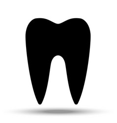 black tooth silhouette on a white background vector image