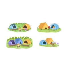 campsite in forest semi flat set vector image