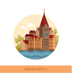 Cartoon castle or fortification outdoor view vector