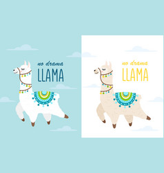 cartoon llama and alpaca with clouds vector image