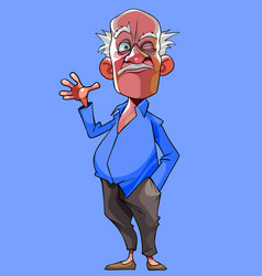 cartoon old gray haired man winks and waves his vector image