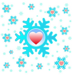 Christmas background with snowflakes and hearts vector image
