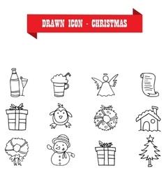 Christmas icons of hand drawn vector