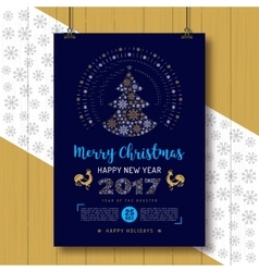 Christmas poster happy new year rooster 2017 vector