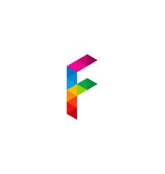 Color letter f logo icon design vector