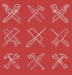 Crossed work tools vector image