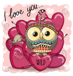 cute cartoon tribal owl with hearts vector image