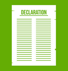 Declaration of independence icon green vector