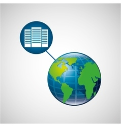 Earth global data center connected media vector