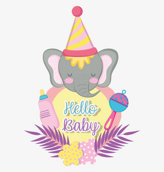 elephant with feeding bottle to baby shower vector image
