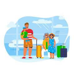 Family characters on vacation travel at airport vector