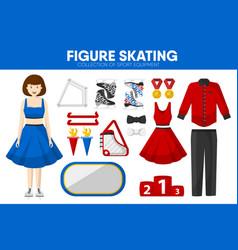 figure skating sport equipment skater clothing vector image