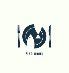 fish menu logo plate with fish on background vector image