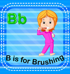 Flashcard letter b is for brushing vector