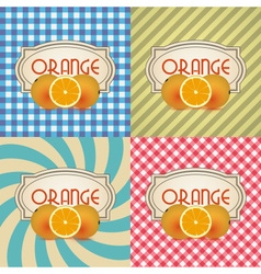 Four types of retro textured labels for orange vector