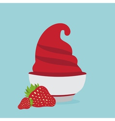 frozen yogurt in the cup with strawberry design vector image