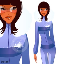 funky stylish winter dressed woman vector image