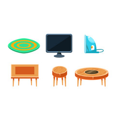 furniture collection home accessories carpet tv vector image