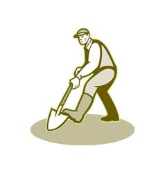 Gardener Landscaper Digging Shovel Retro vector