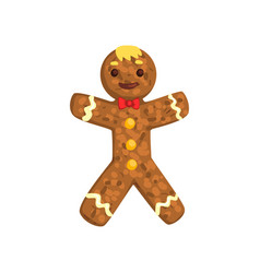 Gingerbread man christmas character with funny vector