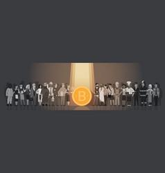 Golden bitcoin in spot light over silhouette vector