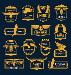 golden eagle and hawk birds heraldic wings icons vector image