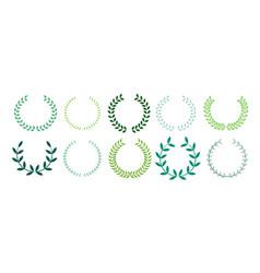 Green leaves laurel wreath collection design vector