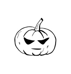 halloween doodle pumpkin element isolated vector image