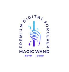 hand magic wand logo icon vector image