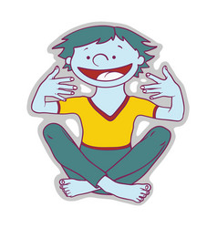 happy boy with blue skin is sitting and waiting vector image